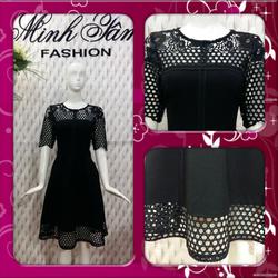 Đầm đen phối ren tay lở Minh Tâm Fashion D20160001