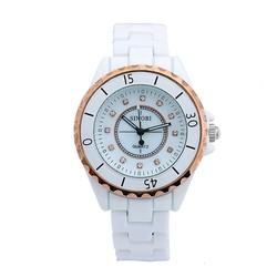 Đồng hồ nam dây đá ceramic SI041 Trắng viền vàng