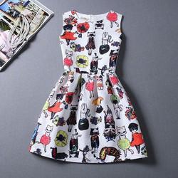 đầm nữ thời trang in hoạ tiết mèo dễ thương