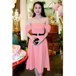 Đầm xòe trể vai cột nơ Thái Hà VD178