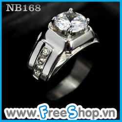 Nhẫn nam đá trắng cao cấp - BH vĩnh viễn ko đen