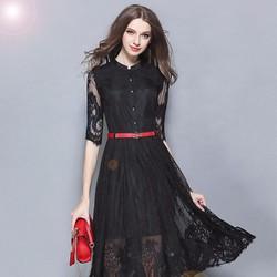 Đầm ren xòe kiểu Vintage kèm thắt lưng - CHGT-205