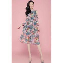 Đầm xoè khoét vai in hoạ tiết hoa loang