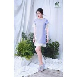 Đầm suông màu phối ren lai