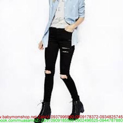 Quần jean dài rách gối màu đen phong cách và cá tính QD159