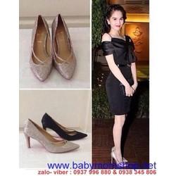 Giày nữ cao gót đế thấp đính kim tuyến sang trọng GCN189