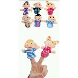 Bộ rối xỏ ngón tay gia đình 6 con bằng vải