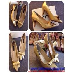 Giày cao gót thấp mũi nhọn đính nơ da vàng sang trọng GCN186