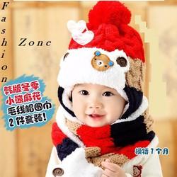 bộ khăn nón len ấm áp cho bé mùa thu đông