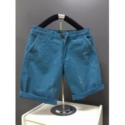 KX01 - Quần short kaki nam form body xước màu xanh cổ vịt hàng cao cấp