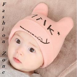 nón sơ sinh xuân thu 2016 nón hình tai mèo in MILK cho bé