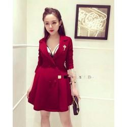 Đầm vest xòe nút bọc