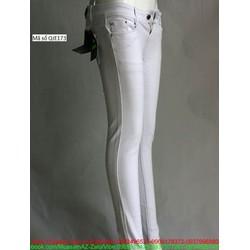 Quần jean nữ trắng lưng cao 1 nút đơn giản sang trọng QJE173