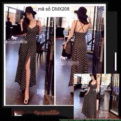 Đầm maxi hai dây chấm bi váy xẻ cao quyến rũ sDMX208