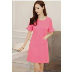 Đầm suông hồng, có túi, tay loe nhẹ