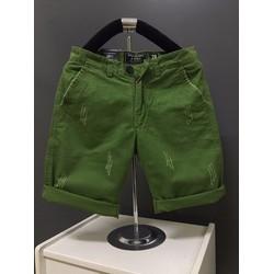 KX11 - Quần short kaki nam form body xước màu xanh lá hàng cao cấp