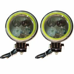 Đèn led cản mini 4 mắt mèo 8cm 3 chế độ sáng - 2 cái- đèn led ô tô