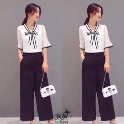 Shop SuSu - Set áo viền tay lỡ phối nơ
