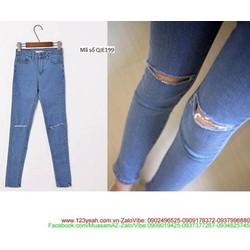 Quần jean nữ lưng cao 1 nút rách gối phong cách trẻ trung QJE199