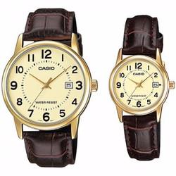 Đồng hồ đôi Casio chính hãng dây da, V002GL, giá 1 đôi