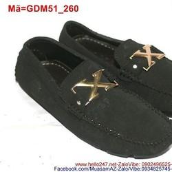Giày mọi da nam công sở phối chữ X nổi bật GDM51