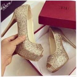 giày cao gót hở mũi ánh kim tuyến cao 11cm