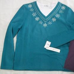Áo thun cotton nữ tay dài size lớn, VN xuất khẩu, thêu đính kim sa.