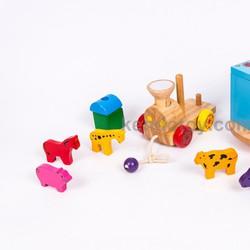 Đồ chơi gỗ cho trẻ em | Xe lửa chở thú