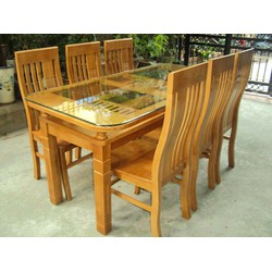 Bàn ghế ăn 100 phần trăm gỗ sồi Mỹ