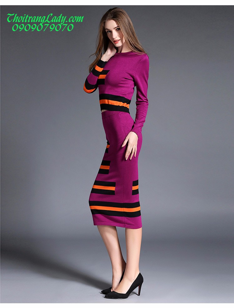 Đầm ôm len dệt kim DV435 8
