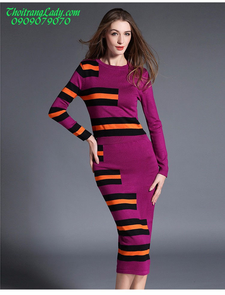 Đầm ôm len dệt kim DV435 4