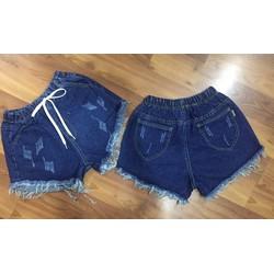 Quần short jean nữ lưng thun cào rách QNT011