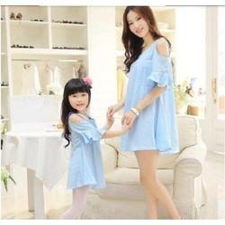 Đầm suông hở vai cực xinh cho mẹ và bé