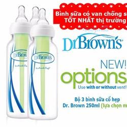 Bộ 3 bình sữa cổ thường Dr. Brown 250 ml New Option