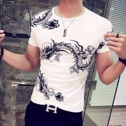 Đậu.Đậu - Áo thun nam in hình rồng phong cách -  CC_116 trắng
