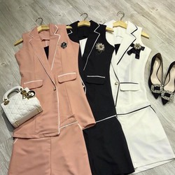 Set vest form dài áo khoác + áo 2 dây + short