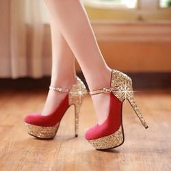 Giày cao gót bít mũi quai kim tuyến