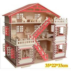 Combo bộ xếp hình ngôi nhà gỗ + đồ nội thất