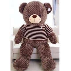 Gấu bông Teddy lông siêu mịn 1m4 - nâu đen gòn loại 1