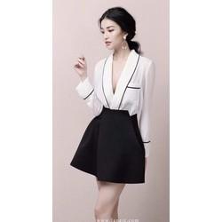 Set váy + áo đắp chéo tay dài nẹp viền - A28149