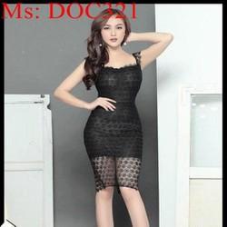 Đầm ôm dự tiệc màu đen sang trọng chất liệu ren lưới DOC321