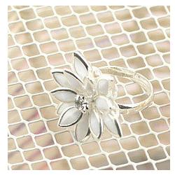 Nhẫn hoa màu bạc Free size cho nữ xinh N01A - Có quà tặng