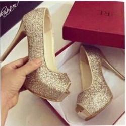 giày cao gót hở mũi ánh kim