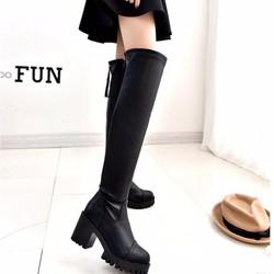 Giày Bốt cao cổ kéo khóa sau kiểu Hàn Quốc