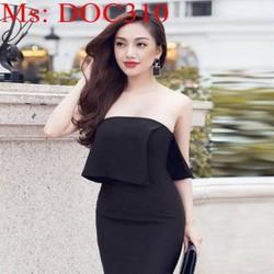 Đầm body đen cúp ngực sexy phối lai bèo sành điệu DOC310
