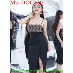 Đầm ôm 2 dây cúp ngực và xẻ đùi thiết kế thời trang DOC320