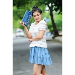 Đầm Hàn Quốc áo nơ vai kết hợp chân váy liền - ĐB010