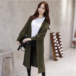 Áo khoác len sọc gân form dài style Hàn Quốc