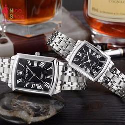 Đồng hồ cặp Chenxi dây thép mặt vuông cổ điễn