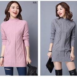 Áo len cổ trụ sọc vuông form dài